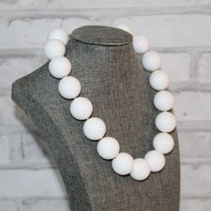 Large White Bead Pearl Necklace Costume Jewelry